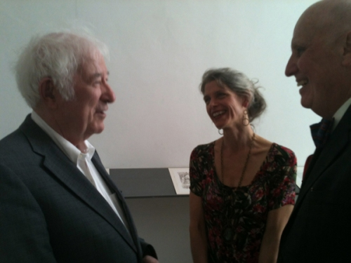 Seamus Heaney, Wendy Artin, Andrew Hoyem (photo by Diana Ketcham)