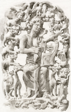 Orpheus with his Lyre, enchanting all of the animals