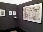 Corner showing paintings of Hermes and of two Satyrs with Dancing Maenad