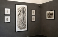 Corner view of the American Academy Gallery, featuring Dancing Maenad and Temple of Zeus at Delphi