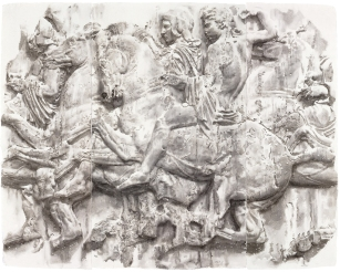An American artist who lives in Rome, Wendy Artin has been working for over a decade on a series of watercolor paintings of ancient Greek and Roman sculptures and related subjects. This exhibition will feature a selection of her paintings, not only images of ancient sculptures and landscapes but also contemporary life studies. The paintings will be set in dialogue with objects drawn from the Kelsey's collections, including works of Greek art inspired by Egyptian precedents and examples of the same figure types seen in Artin's work (such as Aphrodite rising from the sea). Wendy Artin is one of a long line of artists who draw inspiration from antiquity. Artin's visually stunning paintings offer fresh and arresting ways of looking at ancient sculptures and buildings. Image: Wendy Artin, Phrygian Cap (Parthenon north frieze slab XXXVII), 2010, watercolor on cotton Khadi paper, 103 x 130 cm