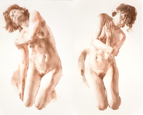 Two life-sized figure paintings