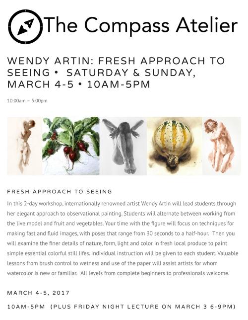 Compass Atelier, March 4 & 5, 2017, Wendy Artin workshop
