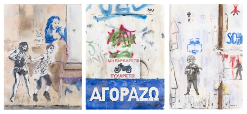 "Wendy Artin, Paris On Danse, 9""x12"" - Athens Motorcycle, 9""x12"" - Rome Cinema America, 7""x10"", 2017"
