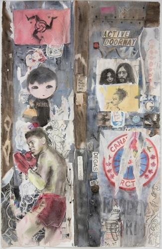 "Wendy Artin, NYC Muhammed Ali, John and Yoko, 26""x41"", 2017"