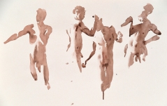 Wendy Artin, Giuseppe Four Times, watercolor on paper, 32x50, 2018