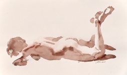 Wendy Artin, Laura on Stomach, watercolor on paper, 20 x 32 cm, 2018