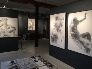 First pictures hung were the giant charcoal statues from the Piazza Navona!
