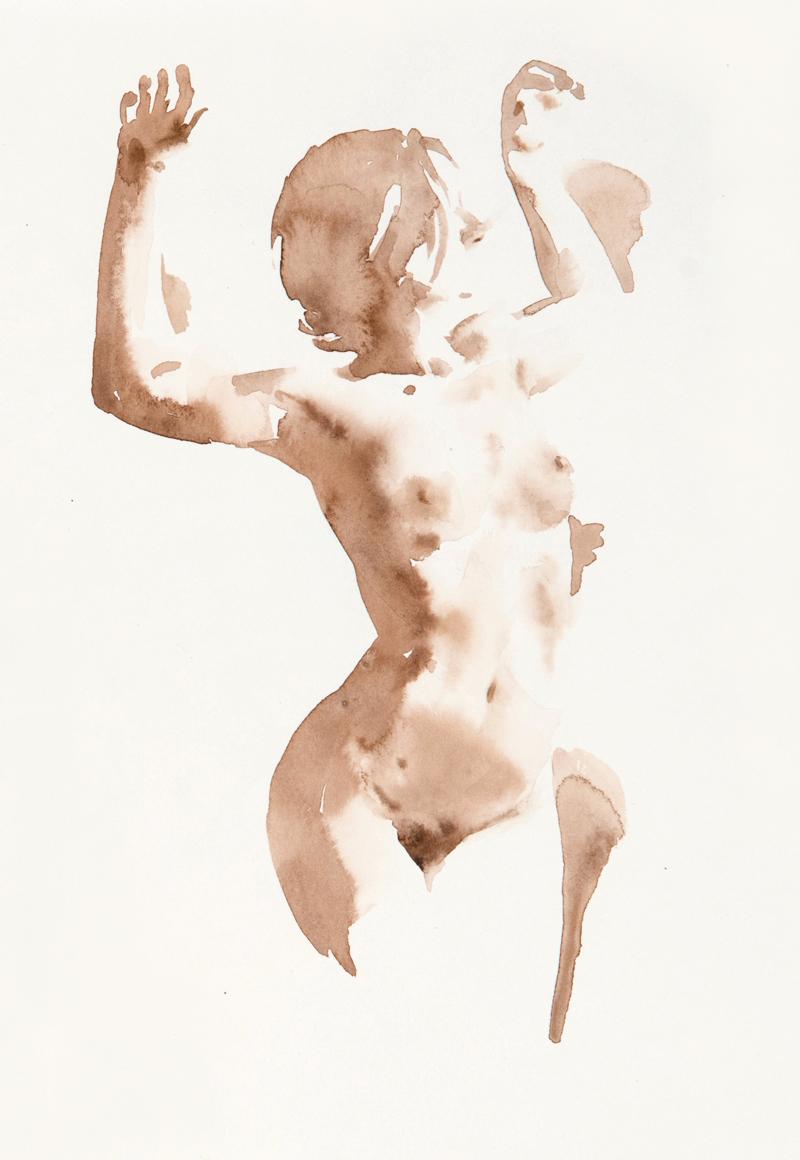 Wendy Artin, Callista Scare, 28 x 48 cm, watercolor on Canson Mi-Teintes, 2020