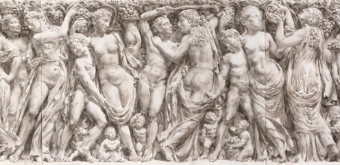 "Wendy Artin, detail of Farnese Sarcophagus, 28"" x 73"", watercolor on Khadi rag paper, 2020"