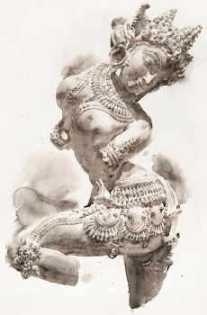 Wendy Artin, Devata Indian Dancer, 58 x 78 cm, watercolor on Khadi rag paper, 2020